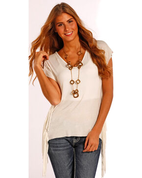 Panhandle Slim Women's Drop Sleeve Fringe Tunic Top , Natural, hi-res