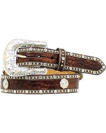 Nocona Croc Print Studded Concho Leather Belt, , hi-res