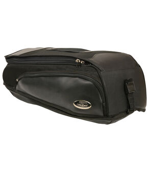 Milwaukee Leather Black Long Textile Back Rack Travel Bag , Black, hi-res