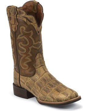 Justin Women's Silver Collection Croc Print Western Boots, Beige, hi-res
