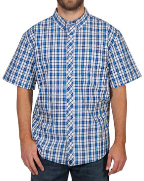 Cody James® Men's Button Down Plaid Short Sleeve Shirt , Turquoise, hi-res
