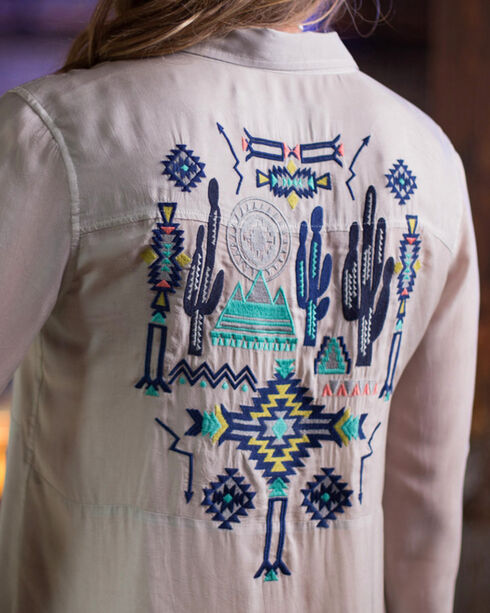Ryan Michael Women's Embroidered Desert Tunic, Light Grey, hi-res