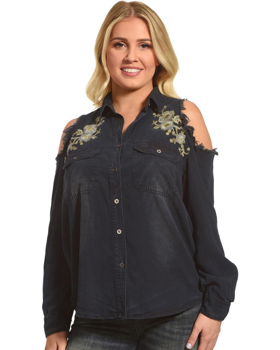 Ocean Drive Women's Distressed Cold Shoulder Long Sleeve Shirt, Blue, hi-res