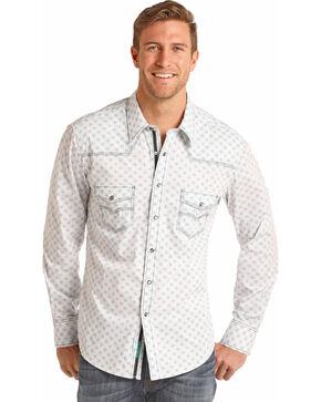 Rock & Roll Cowboy Men's Brushed Bleach Wash Print Long Sleeve Shirt, Aqua, hi-res