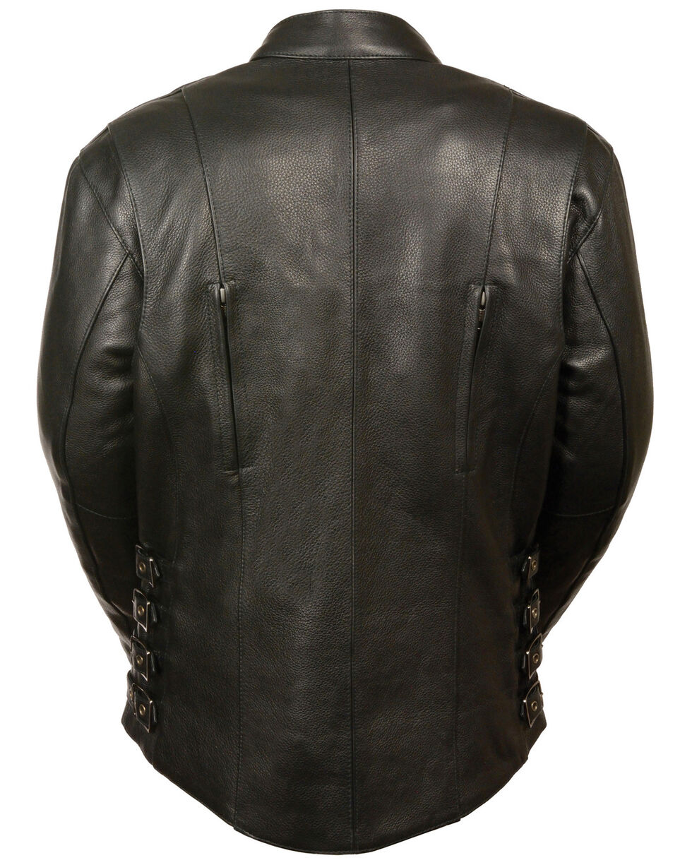 Milwaukee Leather Women's Side Buckle Racer Style Jacket - 3X, Black, hi-res