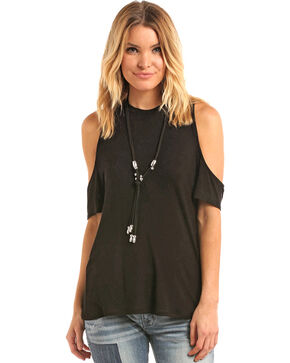 Panhandle Women's Cold Shoulder T-Shirt, Black, hi-res