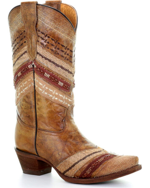 Corral Youth Girls' Honey Embroidered Western Boots - Snip Toe , Honey, hi-res