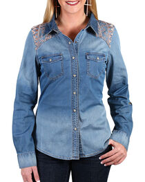 Shyanne® Women's Embroidered Chambray Shirt , , hi-res