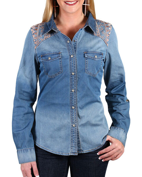 Shyanne® Women's Embroidered Chambray Shirt , Blue, hi-res