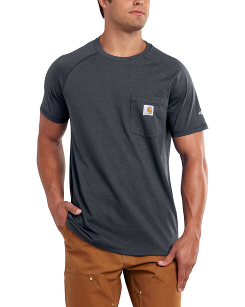 Carhartt Force Men's Cotton Delmont Short-Sleeve T-Shirt, Charcoal, hi-res