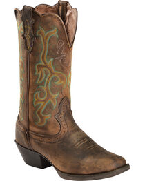 "Justin Women's 12"" Square Toe Stampede Western Boots, , hi-res"