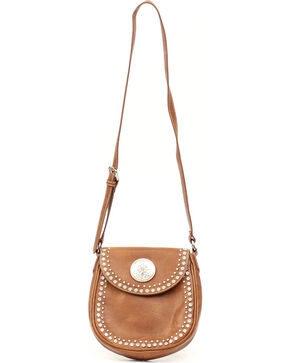 Blazin' Roxx Women's Studded Medallion Flap Handbag, Brown, hi-res