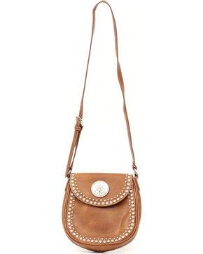 Blazin' Roxx Women's Studded Medallion Flap Handbag, Brown, hi-res