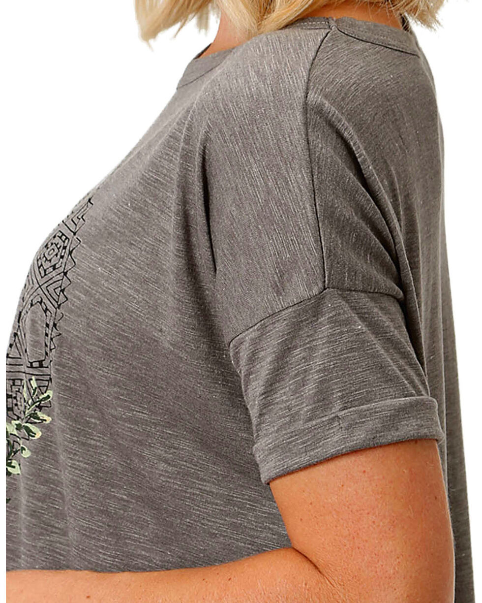 Roper Women's Cactus Graphic Slouchy Tee, Grey, hi-res