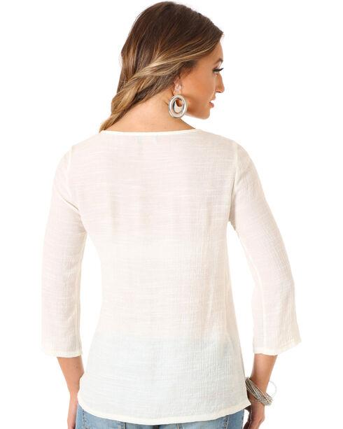 Wrangler Rock 47 Women's Cream Flutter Sleeve Top, Cream, hi-res