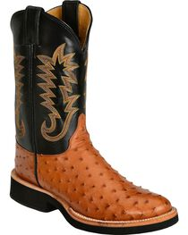 Justin Men's Full Quill Ostrich Western Boots, , hi-res