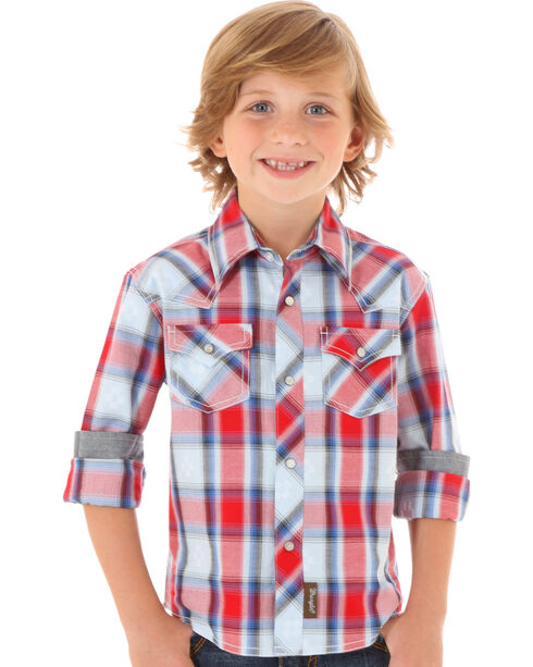 Wrangler Retro Boys' Plaid Printed Western Long Sleeve Shirt, Red, hi-res
