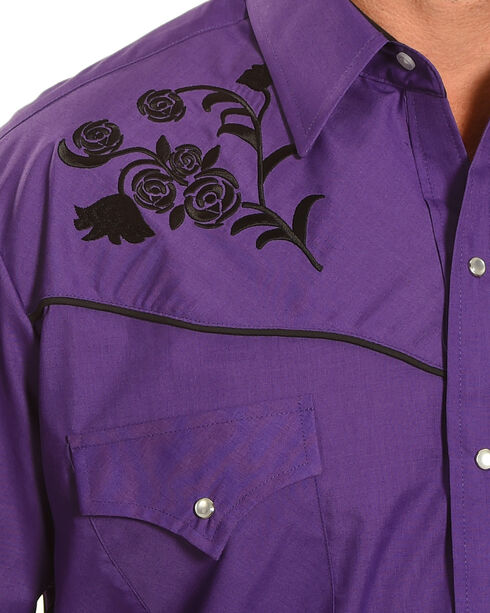 Ely Cattleman Men's Floral Embroidered Western Snap Shirt, Purple, hi-res