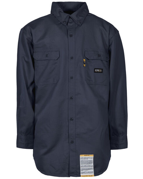 Berne Flame Resistant Button Down Work Shirt - Tall Sizes, Navy, hi-res
