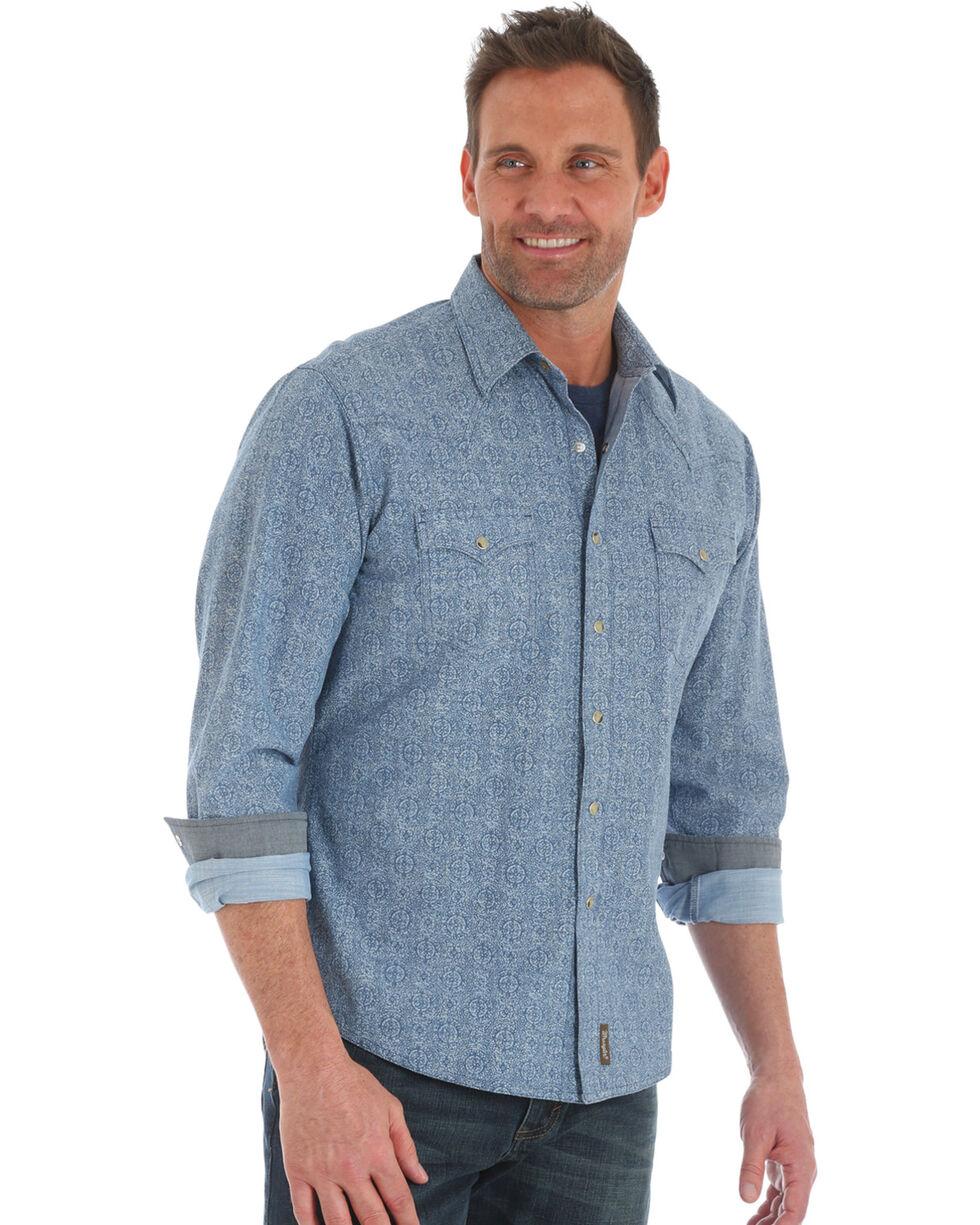 Wrangler Men's Blue Retro Paisley Print Shirt , Blue, hi-res