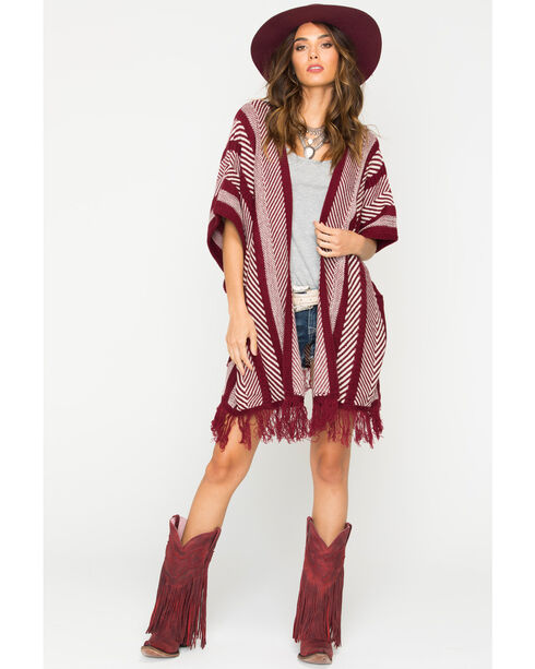 Sage the Label Women's Burgundy Fringe Kimono , Burgundy, hi-res