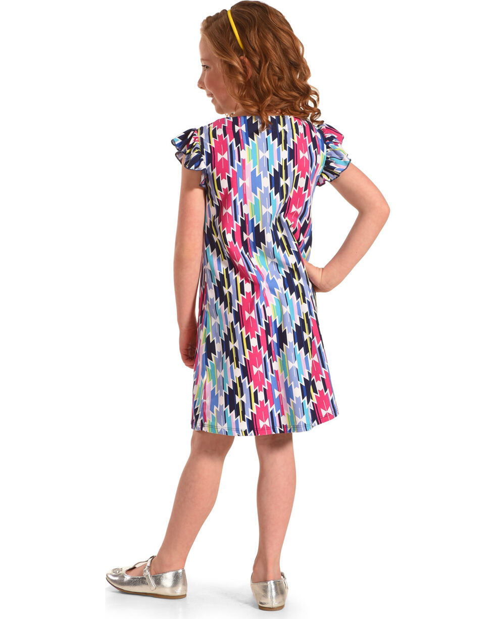 Derek Heart Girls' Flutter Sleeve Trapeze Dress , Blue, hi-res
