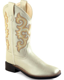 Old West Girls' White Western Boots - Square Toe, , hi-res
