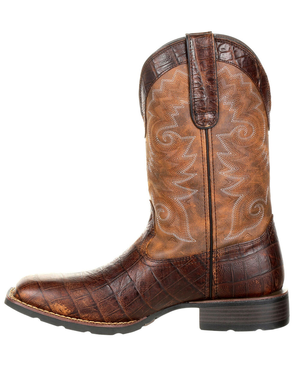 Durango Men's Mustang Gator Embossed Western Boots - Wide Square Toe, Brown, hi-res