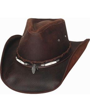 Bullhide Briscoe Leather Cowboy Hat, Chocolate, hi-res