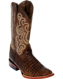 Ferrini Men's Brown Caiman Belly Print Western Boots - Square Toe , , hi-res