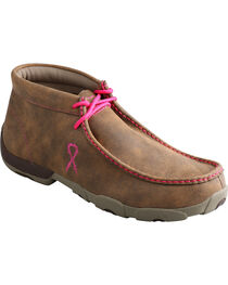 Twisted X Men's Pink Ribbon Lace-Up Moc Toe Driving Shoes, , hi-res