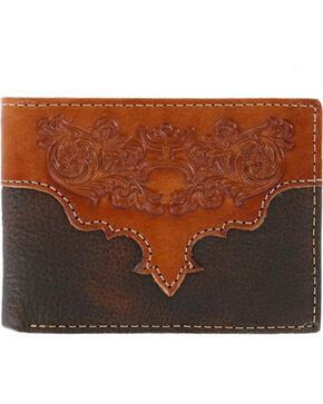 Hooey Men's Genuine Leather Bi-Fold Wallet, Brown, hi-res