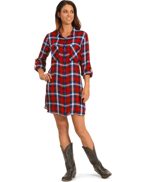 New Direction Women's Red and Blue Plaid Shirt Dress - Plus Sizes, Plaid, hi-res