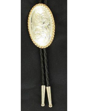 Narrow Oval Engraved Bolo Tie, Multi, hi-res