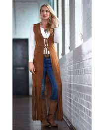 Ryan Michael Women's Long Leather Fringe Vest, , hi-res
