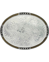 Montana Silversmith Silver Simple Filigree Belt Buckle , , hi-res