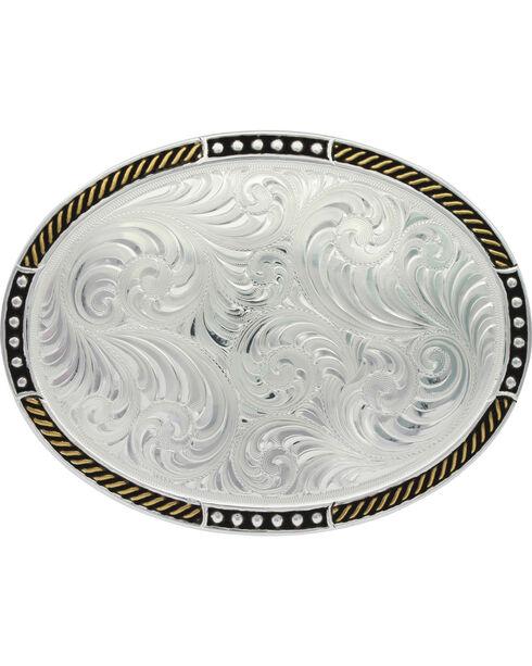 Montana Silversmith Silver Simple Filigree Belt Buckle , Silver, hi-res