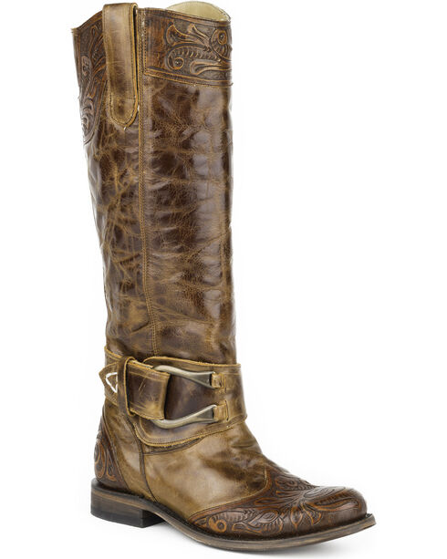 Stetson Women's Tan Paisley Western Boots - Round Toe , Tan, hi-res