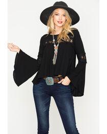 Blush Noir Women's Black Lace Detail Top , , hi-res