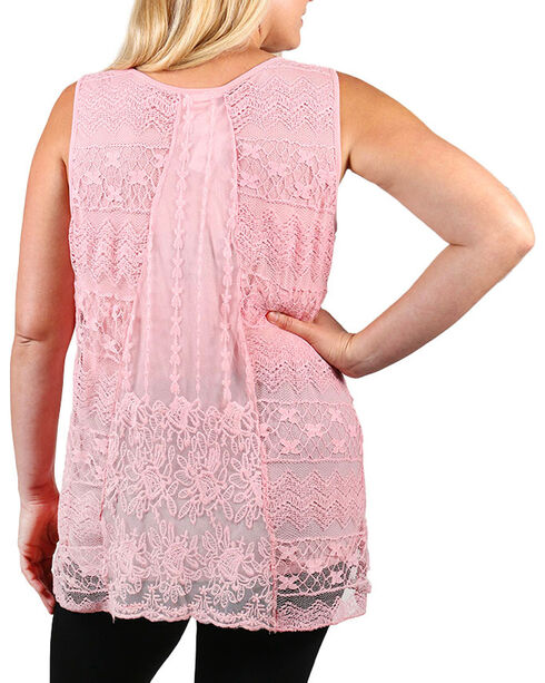Forgotten Grace Women's Plus Lace Overlay Tank Top, Pink, hi-res