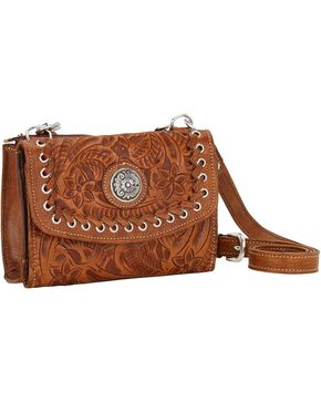 American West Women's Harvest Moon Crossbody Wallet Bag, Brown, hi-res