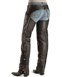 Interstate Leather Women's Black Basic Motorcycle Chaps , , hi-res