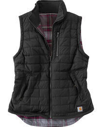 Carhartt Women's Black Reversible Plaid Amoret Vest, , hi-res