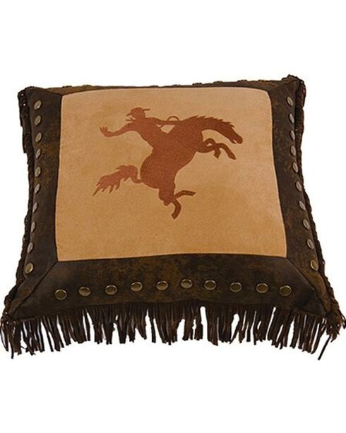HiEnd Accents Team Roper Embroidered Bronco Pillow, Multi, hi-res