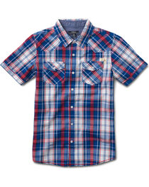 Silver Boys' Blue Short Sleeve Plaid Shirt , , hi-res