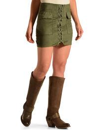Luna Chix Women's Olive Faux Suede Lace Up Mini Skirt, , hi-res