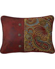 HiEnd Accents San Angelo Paisley & Faux Leather Pillow, , hi-res