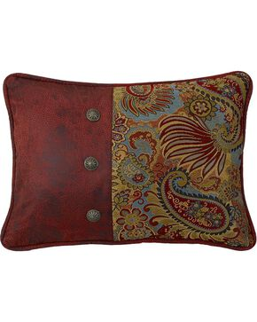 HiEnd Accents San Angelo Paisley & Faux Leather Pillow, Multi, hi-res
