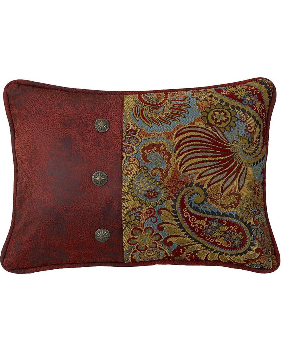 HiEnd Accents San Angelo Paisley & Faux Leather Pillow, Multi, hi-res