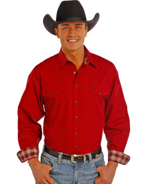 Panhandle Slim Men's Burgundy Print Snap Western Shirt , Burgundy, hi-res